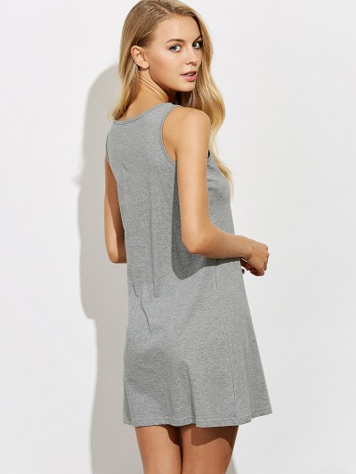 Letter Print Casual Night Dress - GRAY L Mobile