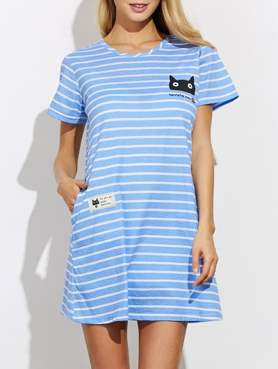 Casual Striped Night Dress - BLUE M Mobile