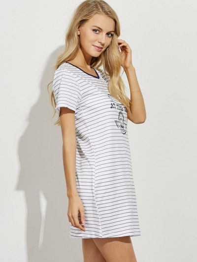 Striped Casual Night Dress - LIGHT GRAY L Mobile