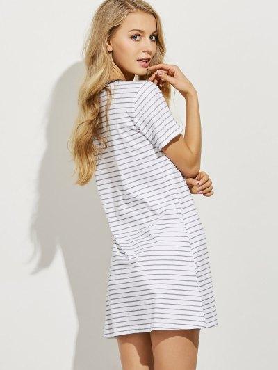 Striped Casual Night Dress - LIGHT GRAY M Mobile