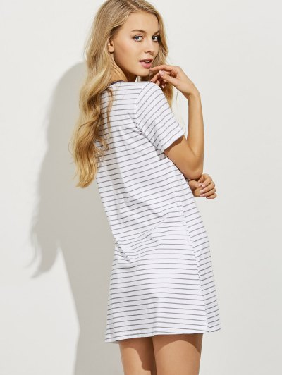 Striped Casual Night Dress - LIGHT GRAY S Mobile