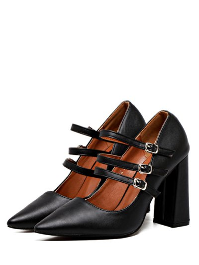 Pointed Toe Chunky Heel Buckles Pumps - BLACK 37 Mobile