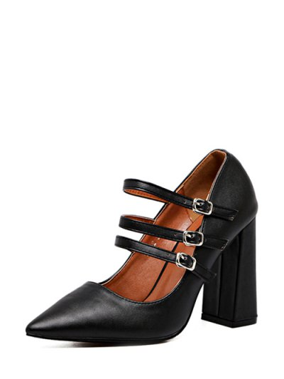 Pointed Toe Chunky Heel Buckles Pumps - BLACK 38 Mobile