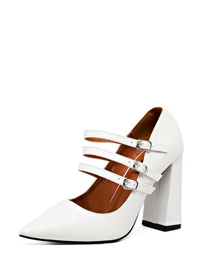 Pointed Toe Chunky Heel Buckles Pumps - WHITE 39 Mobile