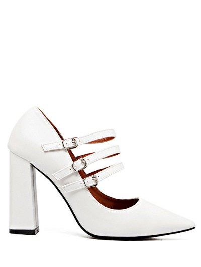 Pointed Toe Chunky Heel Buckles Pumps - WHITE 37 Mobile