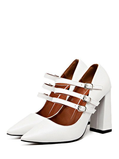 Pointed Toe Chunky Heel Buckles Pumps - WHITE 38 Mobile