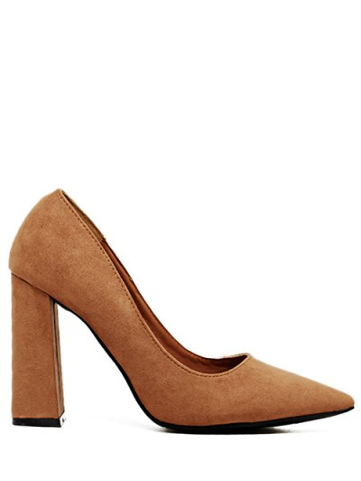 Suede Pointed Toe Chunky Heel Pumps - BROWN 39 Mobile