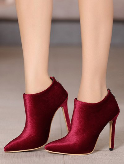 Stiletto Heel Zipper Pointed Toe Ankle Boots - BURGUNDY 37 Mobile