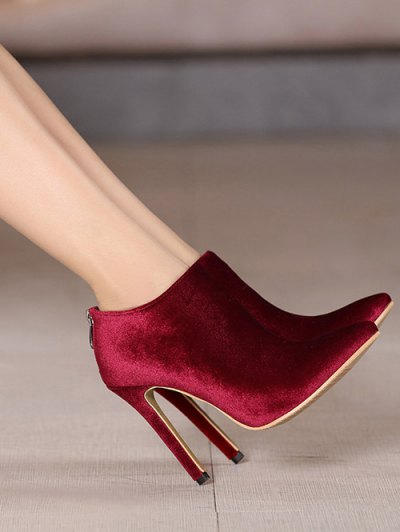 Stiletto Heel Zipper Pointed Toe Ankle Boots - BURGUNDY 38 Mobile