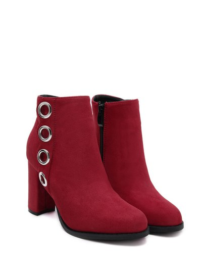 Zip Chunky Heel Metal Ring Ankle Boots - RED 39 Mobile