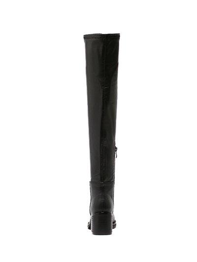 Platform Zipper Rpund Toe Thigh Boots - BLACK 38 Mobile