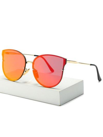 Full Rims Butterfly Mirrored Sunglasses - ORANGE RED  Mobile
