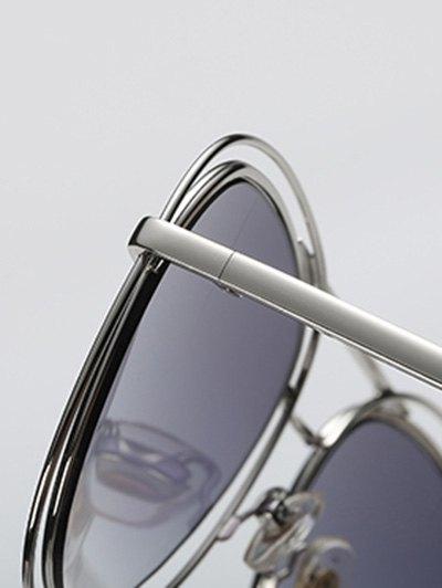 Double Rims Metal Pilot Sunglasses - BLACK  Mobile