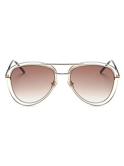 Double Rims Metal Pilot Sunglasses - GOLDEN  Mobile
