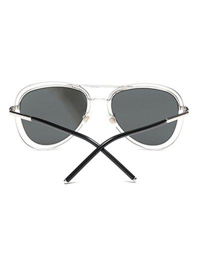 Double Rims Mirrored Pilot Sunglasses - SILVER  Mobile