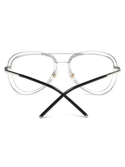 Double Rims Transparent Lens Pilot Sunglasses - SILVER  Mobile