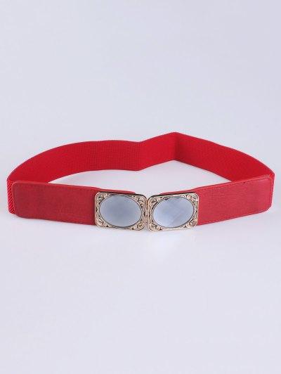 Faux Opal Elastic Waist Belt - RED  Mobile