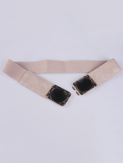 Faux Opal Elastic Waist Belt - IVORY COLOR  Mobile