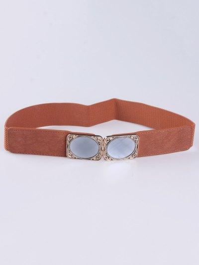 Faux Opal Elastic Waist Belt - LIGHT BROWN  Mobile
