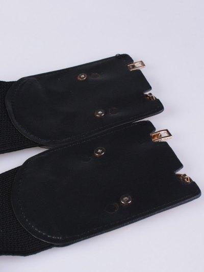 Oval Metal Elastic Waist Belt - BLACK  Mobile
