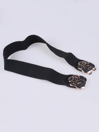Rose Carve Elastic Waist Belt - BLACK  Mobile