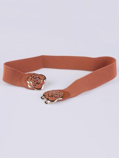 Rose Carve Elastic Waist Belt - LIGHT BROWN  Mobile