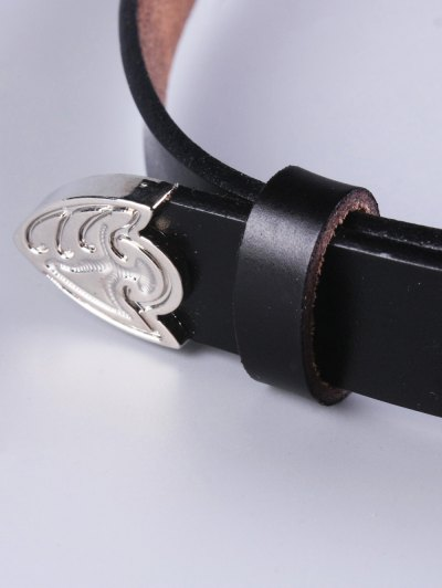 Openwork Double Buckle Faux Leather Belt - BLACK  Mobile