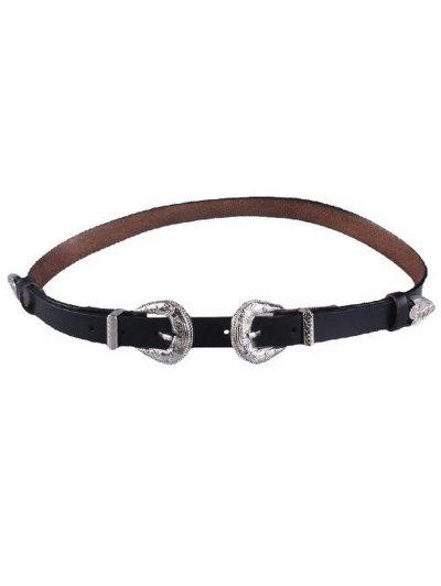 Embossed Double Buckle Faux Leather Belt - BLACK  Mobile