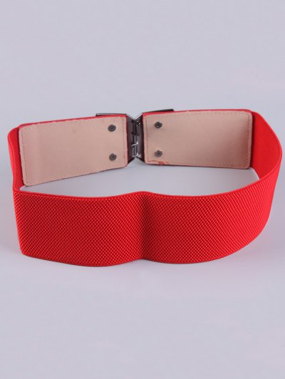 Smooth Alloy Buckle Elastic Waist Belt - RED  Mobile