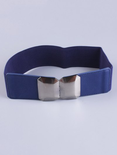 Smooth Alloy Buckle Elastic Waist Belt - BLUE  Mobile