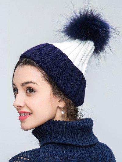 Knit Ribbed Pom Hat - CADETBLUE  Mobile