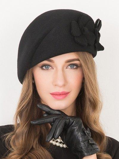 Flower Applique Wool French Beret - BLACK  Mobile