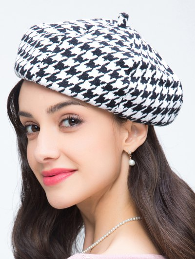 Houndstooth Painter Beret - WHITE AND BLACK  Mobile