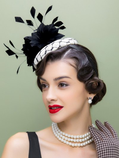 Flower Feather Pillbox Hat - BLACK  Mobile