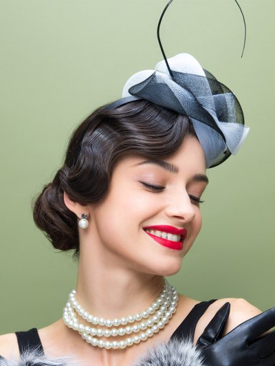 Lace Trim Fascinator Cocktail Hat - WHITE AND BLACK  Mobile