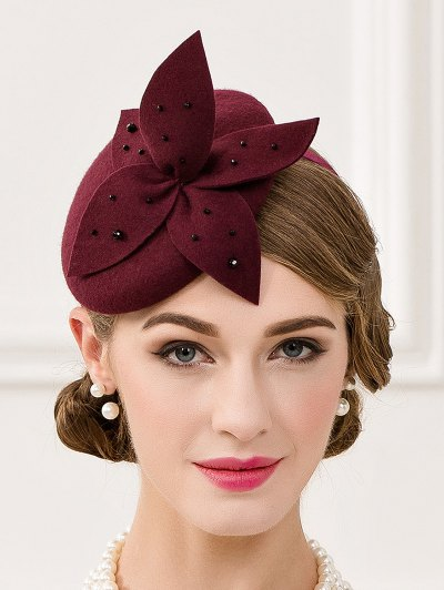 Rhinestone Flower Pillbox Hat - WINE RED  Mobile