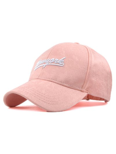 Newyork Embroidery Plush Baseball Hat - PINK  Mobile