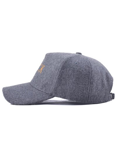 Black Embroidery Faux Woolen Baseball Hat - GRAY  Mobile