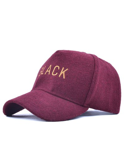 Black Embroidery Faux Woolen Baseball Hat - BURGUNDY  Mobile