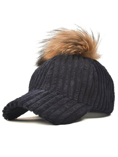 Pom Ball Corduroy Baseball Hat - BLACK  Mobile
