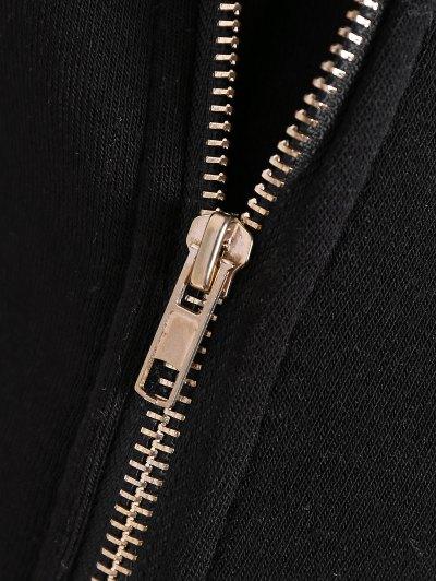 Fleece Inner Asymmetric Zip Hoodie - BLACK 2XL Mobile
