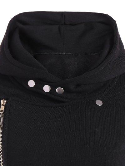 Fleece Inner Asymmetric Zip Hoodie - BLACK XL Mobile