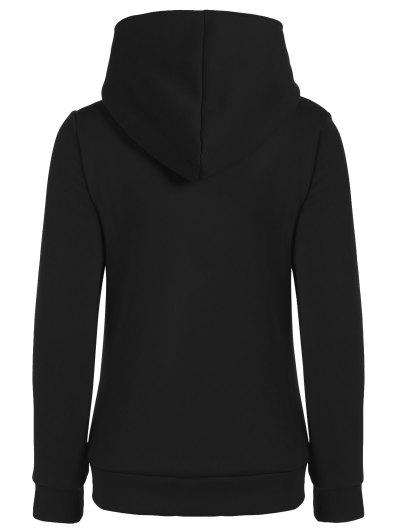 Fleece Inner Asymmetric Zip Hoodie - BLACK M Mobile