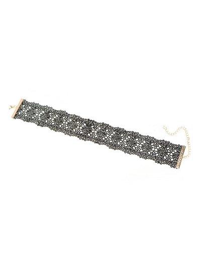 Vintage Lace Floral Choker - BLACK  Mobile