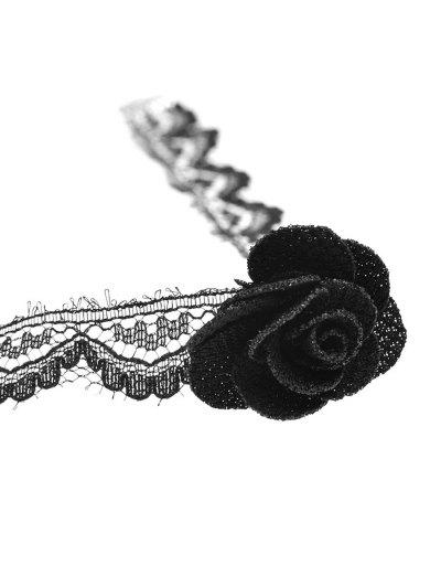 Vintage Lace Rose Choker - BLACK  Mobile