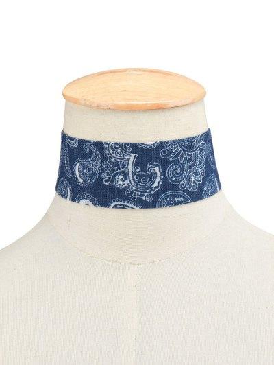 Print Denim Choker Necklace - CERULEAN  Mobile