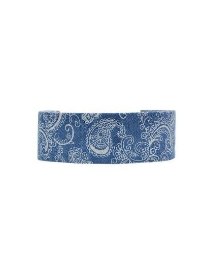 Graphic Print Denim Choker Necklace - BLUE  Mobile