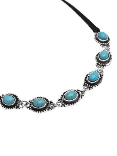 Faux Turquoise Bows Choker Necklace - BLACK  Mobile