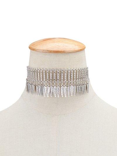Embellished Leaf Necklace - SILVER  Mobile