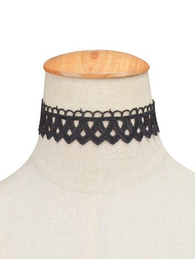 Vintage Lace Geometric Choker - BLACK  Mobile